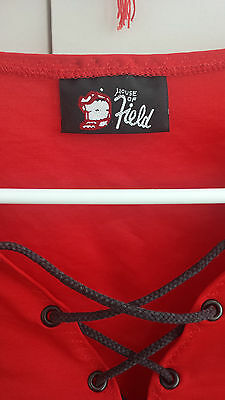 vintage ladies leotard bodysuit Patricia Field sex and the city red S XS lace up