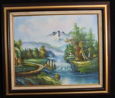 River Fall Landscape Oil Canvas Painting Framed Nature Mountain Scene W. Amion