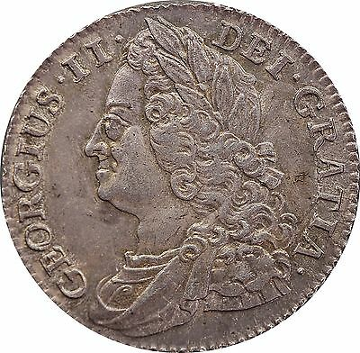 1743 ONE SILVER SHILLING COIN ROSES IN ANGLES TYPE KING GEORGE II (c.1662-1816)