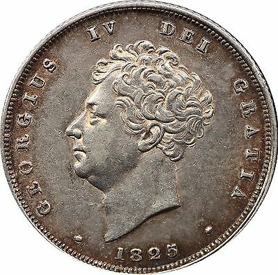 1825 BARE HEAD SHILLING SILVER COIN FROM GEORGE IV Milled (1816-1837)