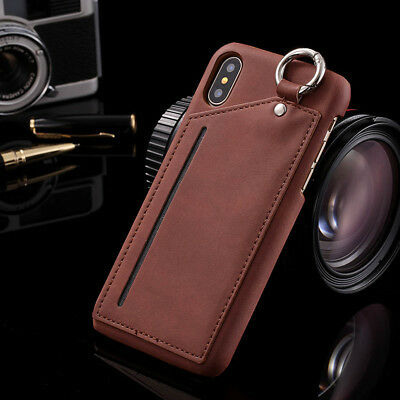 For iPhone 7 7 Plus Back Vintage Luxury Leather Card Slot Ring Holder Case Cover