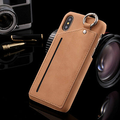 For iPhone 7 Plus 8 Case Vintage Luxury Leather Card Ring Holder Wallet Cover