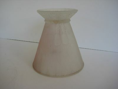 Vintage Art Deco Pink Frosted Glass Boudoir Lamp Shade w/ Tassel Design Antique