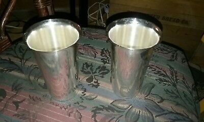 2 antique Sterling Silver High Ball Mint Julep Mojito Tumbler Cups 1800s
