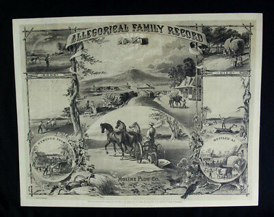 """1881 Moline Plow Co. Allegorical Family Record 14x18"""" Lithograph John Deere"""