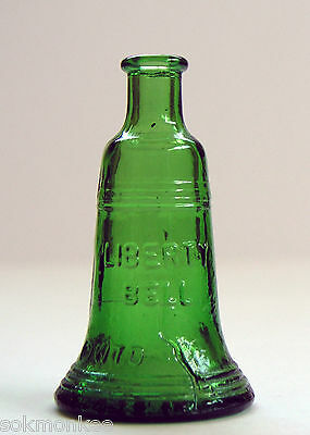 Wheaton Bottle Liberty Bell Green Glass 3 Inch Mini Miniature Vintage