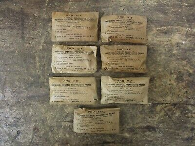 Lot of 7 Original WW2 WWII Vintage Condom Prophylactic Packet Kits