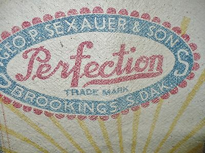 Antique PERFECTION SEED SACK – GEO. P. SEXAUER & SON – BROOKINGS, S.DAK/BEMIS A