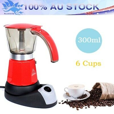 Electric Espresso Moka Pot Coffee Maker Italian Percolator Stovetop Latte 6 Cups