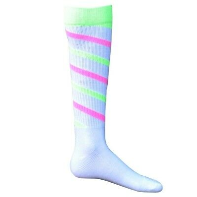 (Small, White/Neon Green/Neon Pink) - Red Lion Cyclone Athletic Socks