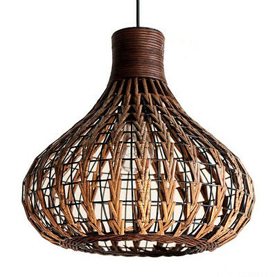 Old style Rattan & Metal Caged Shade Pendant Lamp Industrial Loft Ceiling Light