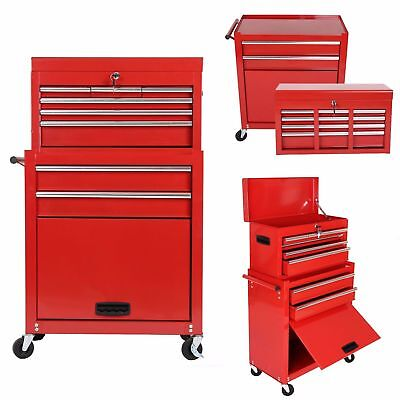 Portable Toolbox Top Chest Rolling Tool Cart Storage Box Cabinet Sliding Drawers