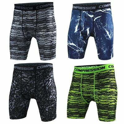 Men Camouflage Shorts Pants Compression Under Base Layer Tights Trousers Sports
