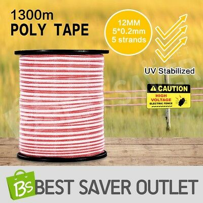 1300M Polytape Roll Electric Fence Energiser Stainless Steel Ploy Tape Insulator