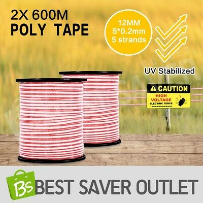 Roll Ploytape Energiser Stainless Steel Insulator Electric Fence Poly Tape 1200M