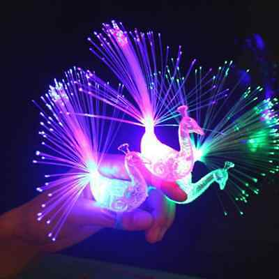 1Pcs Night Discolor Finger Light Peacock Electronic Party Bar Supplies Kids Gift