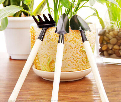 Set Small 3 in 1 Garden Plant Wood Handle Soil Weed Shovel Rake Spade Tools Kit