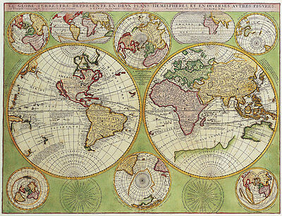 Double Hemisphere Vintage Polar Map 1690 A2+ High Quality Canvas Art Print
