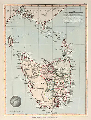 Van Diemens Land 1845 Vintage Map A2 High Quality Art Print