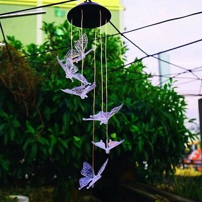 Solar Color Changing LED Butterfly Wind Chimes Home Garden Decor Light Lamp HM
