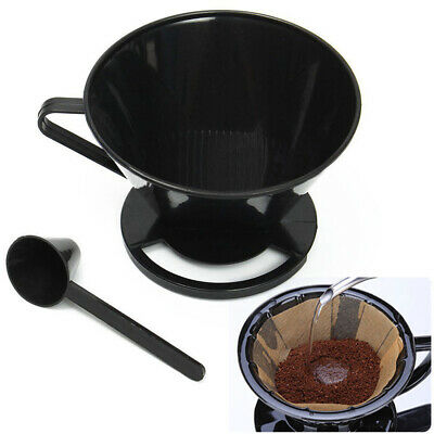 Coffee Filter Cone Dripper Maker Holder + Measuring Spoon Cafetiere Jug Cup Mug