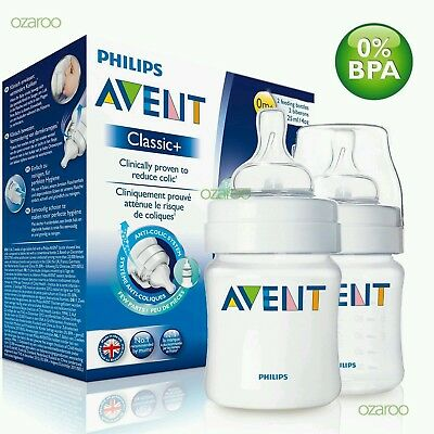 New Philip Avent Classic+ 125ml/4oz Baby Feeding Bottle Twin Pack Set SCF565/27