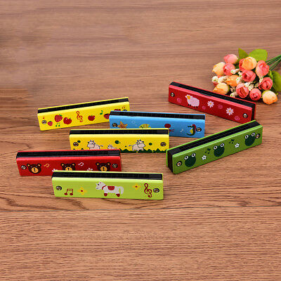 1xEducational Musical Wooden Harmonica Instrument Toy for Kids Gift Random color