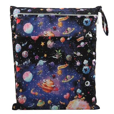 1 Wet Dry Bag Baby Cloth Diaper Nappy Bag Reusable Two Zipper Solar System