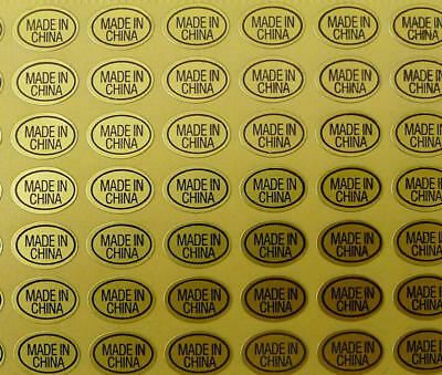 900pcs GOLD MADE IN CHINA  Label Sticker Oval Coated Paper 13 x 9mm