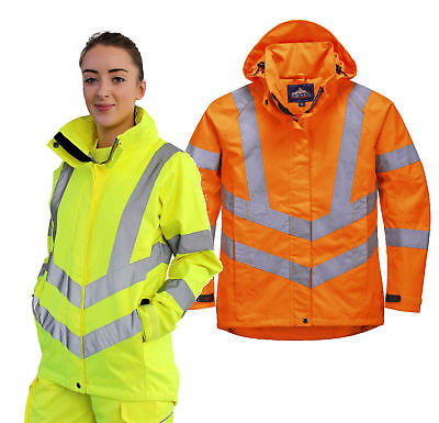 Portwest LW70 Ladies Hi Vis Rain Jacket Waterproof Breathable Womens Work Parka