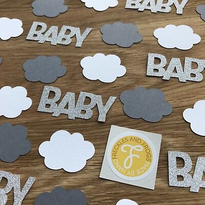 Baby Shower Table CONFETTI Clouds & Stars White Grey Neutral Unisex Baby Shower