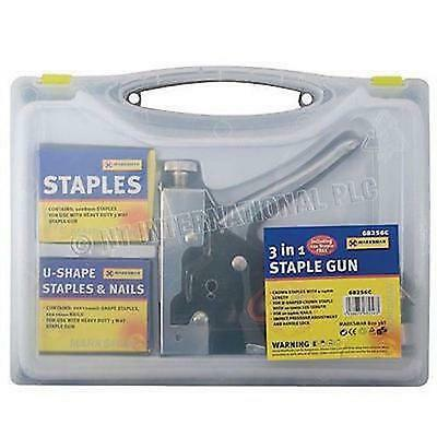 Heavy Duty 3 Way Staple Nail Gun Stapler Upholstery Wood With 600 Staples