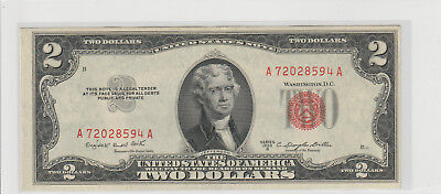 1953 B  $2 Two Dollars Usa Red Seal Note  Lightly Circulated 594A