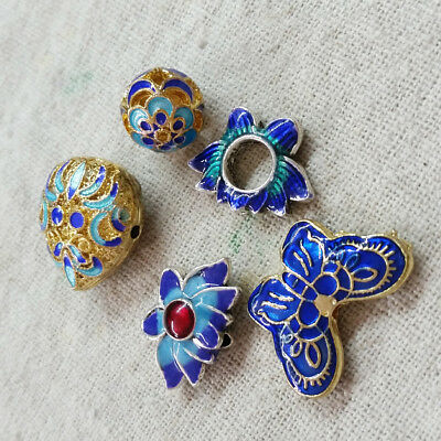 5Pcs Cloisonne Enamel Colorfast Alloy Metal Butterfly Lotus Flower Beads Finding