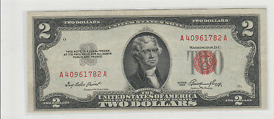 1953   $2 Two Dollars Usa Red Seal Note  Lightly Circulated 782A