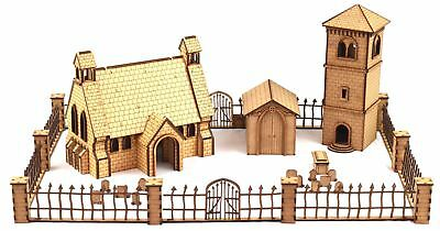 Church & Belfry with Gated Graveyard 28mm MDF Set by WWS – Warhammer Table top