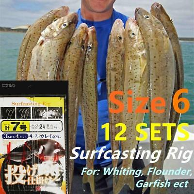 12x Whiting Surfcasting Rig Size 6 hook Bloodworm 20lb Surf Beach Garfish no.9