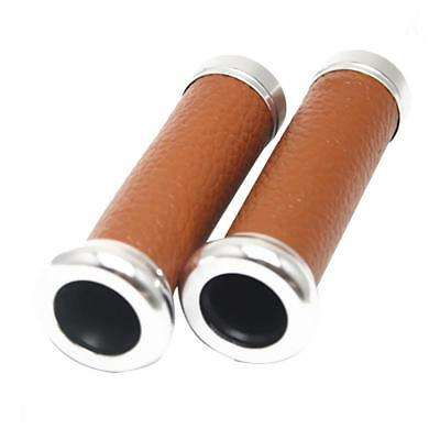 2x Handlebar Grips Aluminum PU 22mm For for Most 22mm Motorcycle Brown