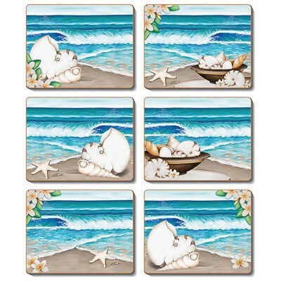 PARADISE Set of 6 Placemats and Coasters Lisa Pollock Cork Back BEACH