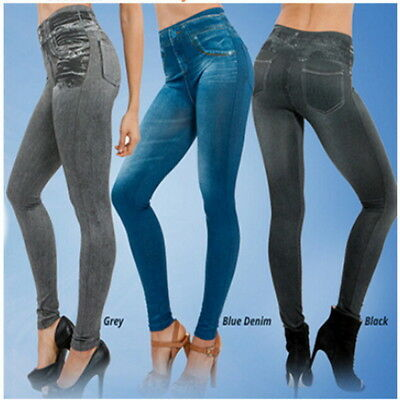 2017 Women Leggings Jeans Denim Pants with Pocket S-XXL Black/Gray/Blue