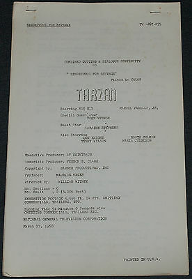 Ron Ely TV's TARZAN 1968 ORIG. 14x8 COMBINED CUTTING & DIALOG CONTINUITY SCRIPT!