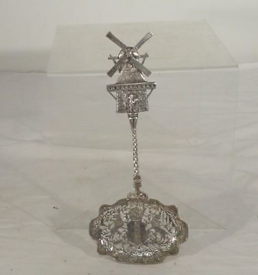 Antique Finely Cast Dutch Sterling Silver Serving Spoon Lions Windmill Hallmark