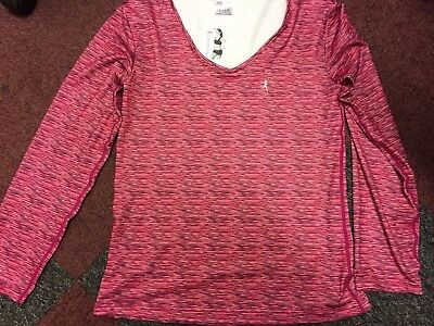 NEW Ladies active long sleeved gym sports top PINK lined tone time 12-14 BNWT