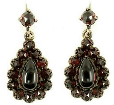 Vinatge garnet drop earrings in Victorian style // гранат OX5T51