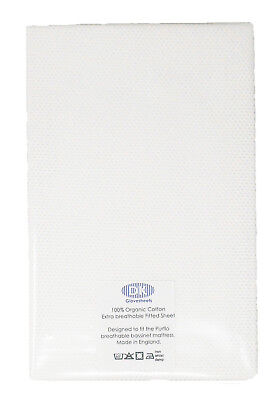 2 Organic Cotton White Breathable Fitted Sheets Design To Fit Purflo Bassinet