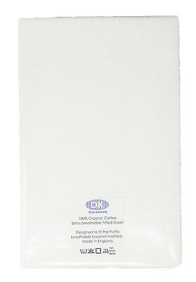 Organic Cotton White Breathable Fitted Sheets Design To Fit Purflo Bassinet