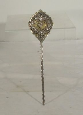 Antique Spanish Colonial Silver Hair Cloak Pin SIlver Filigree Decoration South