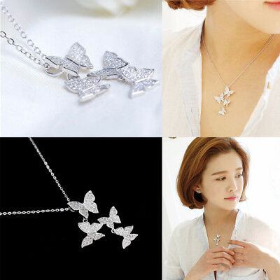 New 925 Sterling Silver Large Butterfly Cubic Zirconia Jewelry Pendant Necklace