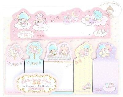 Sanrio Little Twin Stars Sticky Notes Set 6 Different Designs 15 X 6 = 90 Sheets