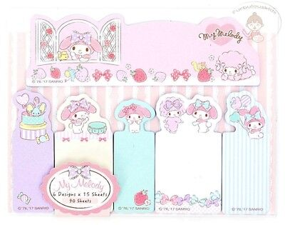 Sanrio My Melody Sticky Notes Set 6 Different Designs 15 X 6 = 90 Sheets